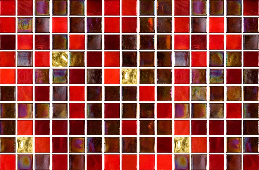 Mosaic Sweden B1204 Mix Röd/Guld 15x15x4 mm