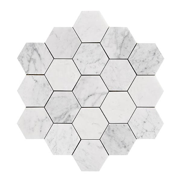 Bricmate Marmor U Hexagon Large Carrara Honed 100x100 mm