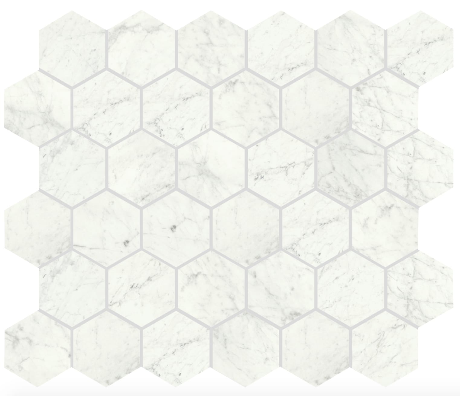 Shining Carrara Vit Blank Hexagon 6x5 cm