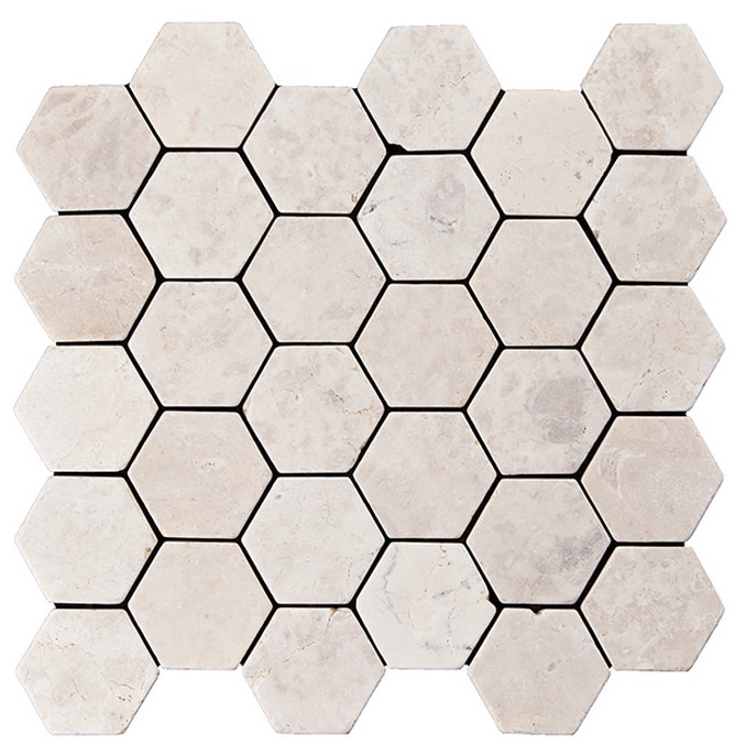 Konradssons Indostone hexagon vit/beige 6x6cm