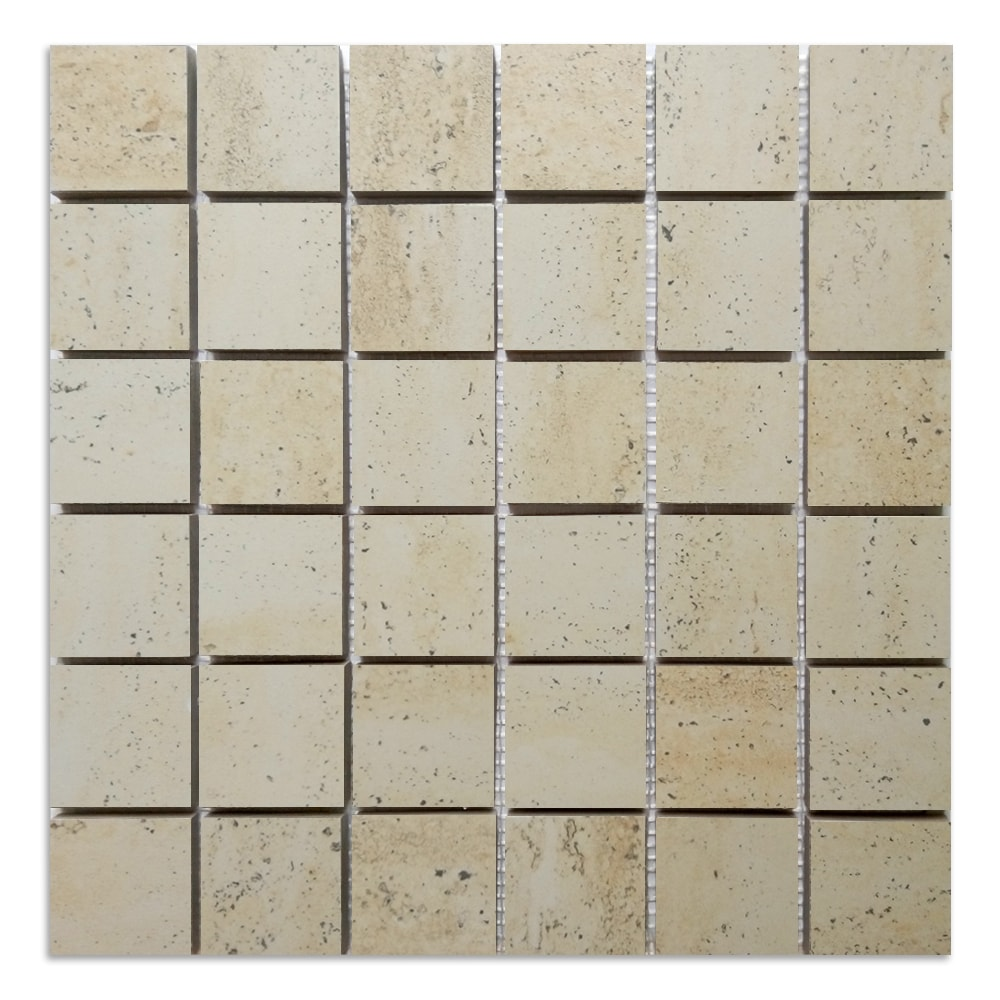 Hill Ceramic Travertine Mosaik Klinker 46x46 mm Fibernät 300x300 mm