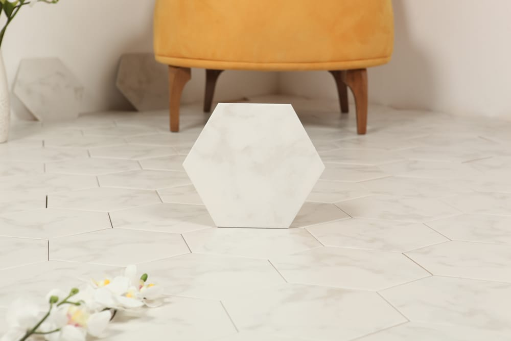 Tilemaster Klinker Hexagon Carrara White 20X23