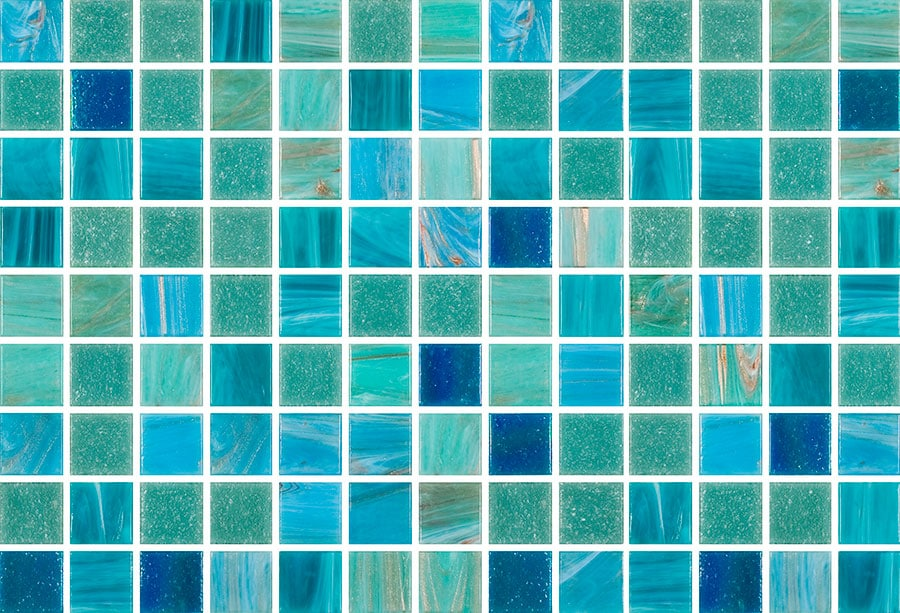 Mosaic Sweden A1200 Mix Blå Turkos 20x20 mm