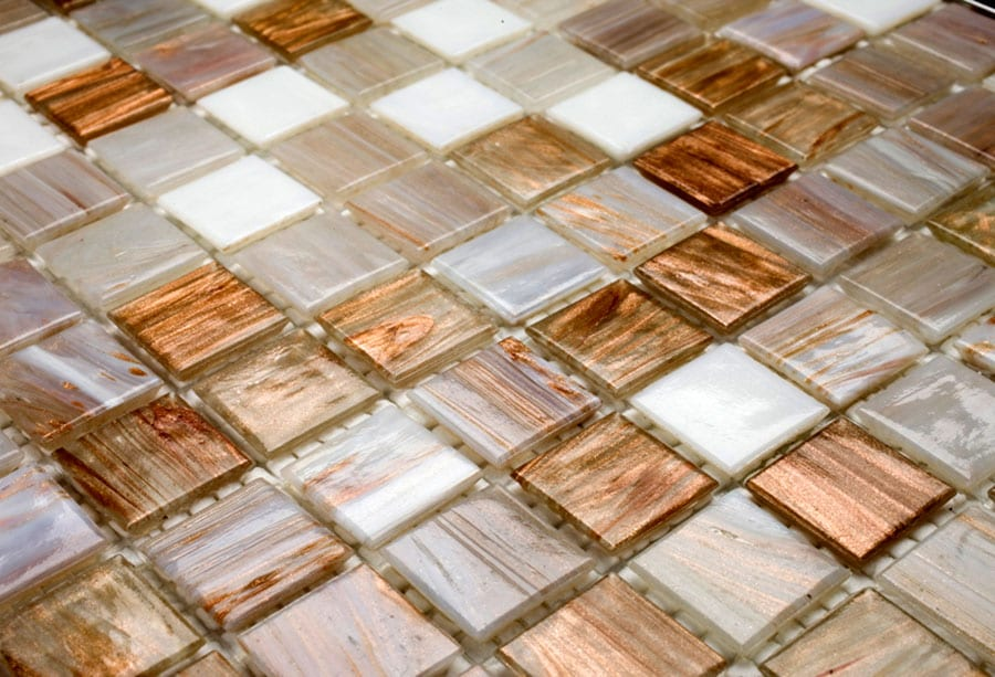Mosaic Sweden A1201 Mix Vit Brons 20x20 mm