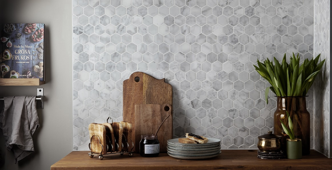 Mosaic Sweden O0001 Marmor polerad hexagon 42x42 mm
