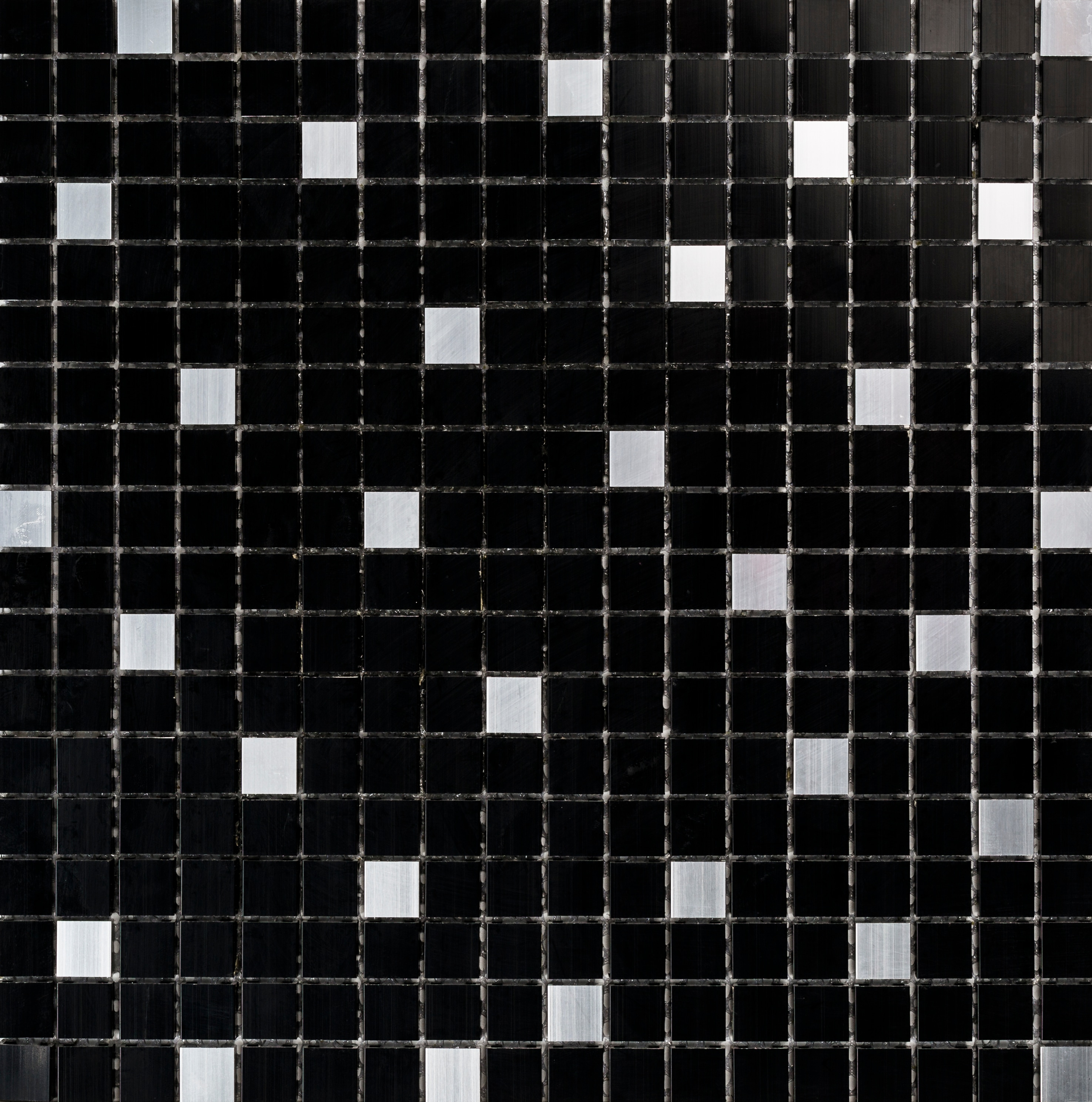 Collection Mosaik Aluminium Svart/Silver 15x15 mm