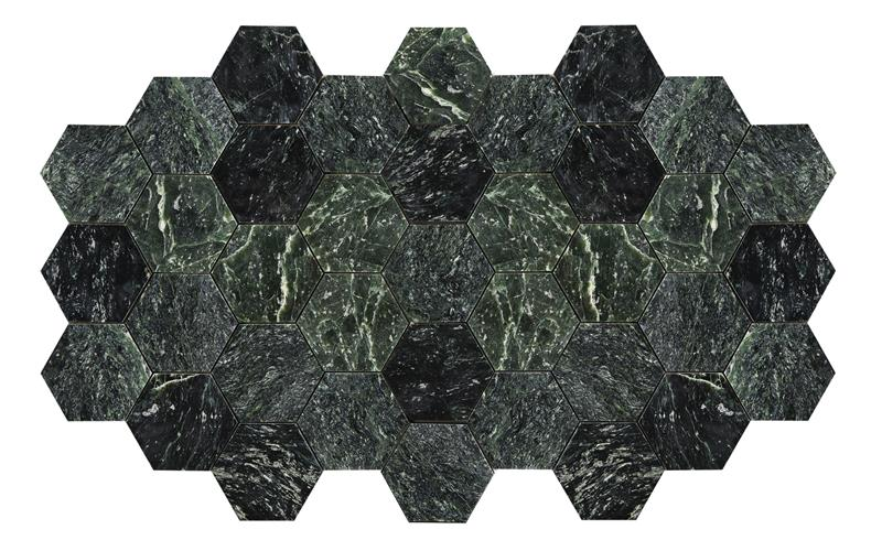 Bricmate U Hexagon Large Green Marble Polished 100x100 mm