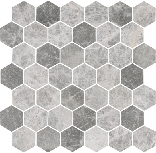 Bricmate Marmor U Hexagon Medium Grey Honed 50x50 mm