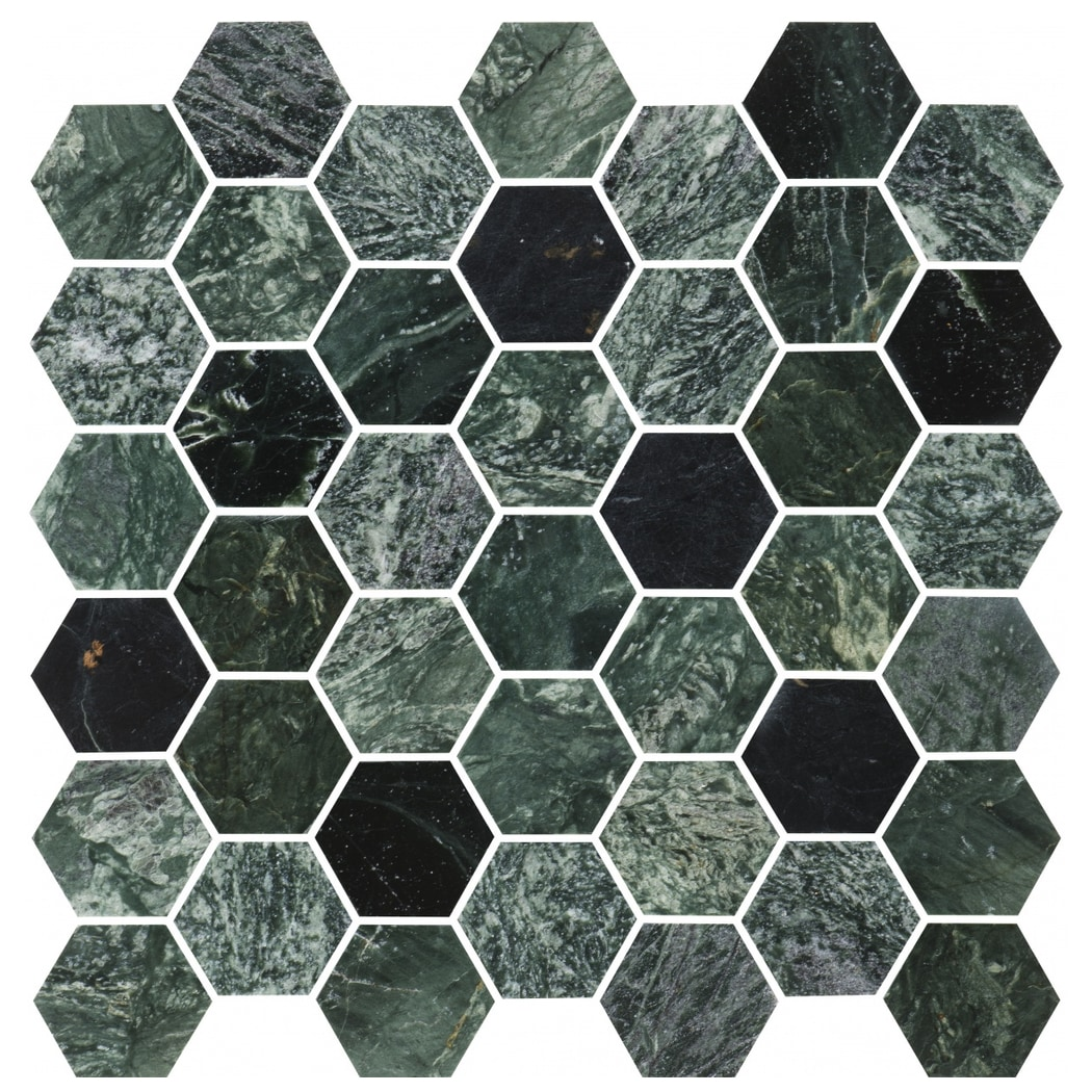 Bricmate U Hexagon Medium Green Marble Polished 50x50mm