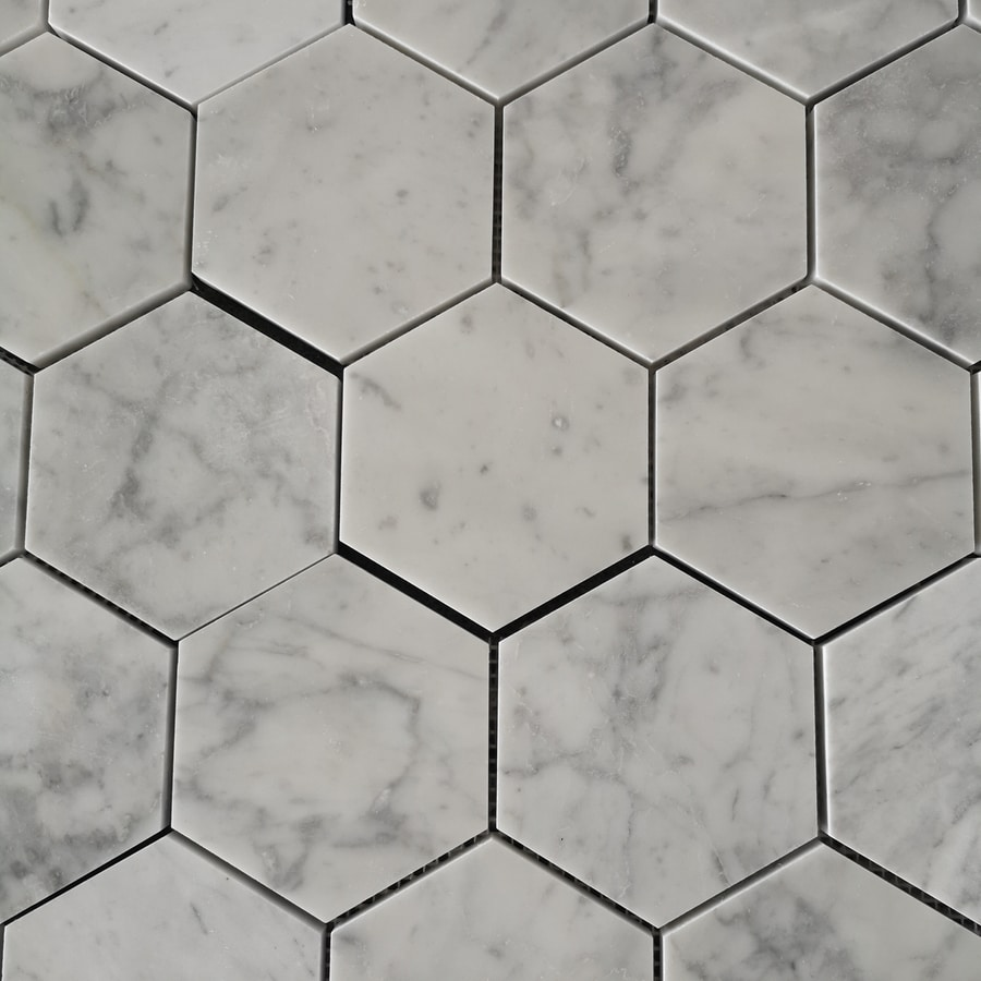 Marmor Carrara Polished Hexagon 100x100x10 mm