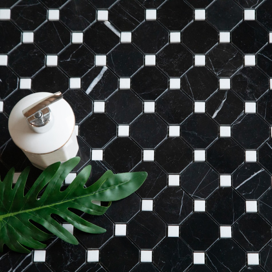 ArtStone Marmor Nero Marquina Polished Octagon Passbit Bianco Carrara