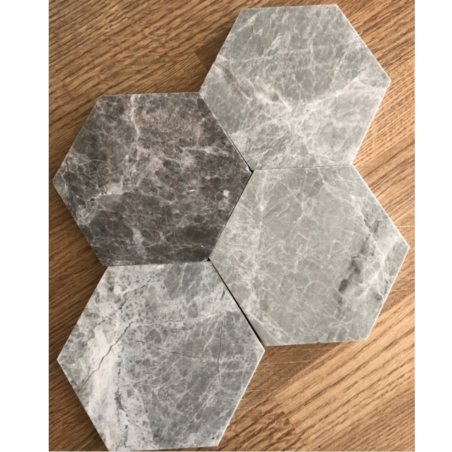 Marmor U Hexagon Large Grey Polished 100x100 mm